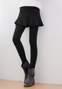 魚尾短裙磨毛內搭褲