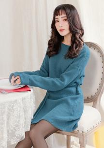 優雅韓妞綁帶針織洋裝