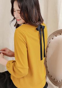甜美氣質後綁帶上衣-芥黃