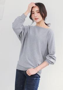 寬版針織衫-淺灰