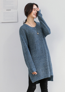 靜謐暖冬側開衩針織毛衣