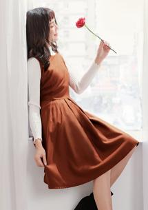 氣質優雅毛呢洋裝