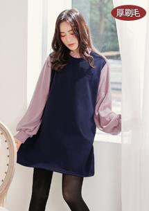 典雅荷葉領厚棉刷毛洋裝