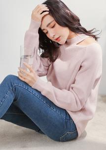 韓妞造型領包芯紗針織衫