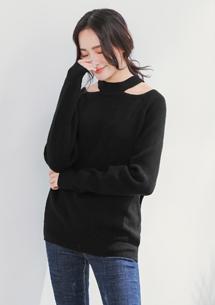 造型領包芯紗針織衫-黑
