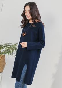 韓妞品味針織開衩長毛衣