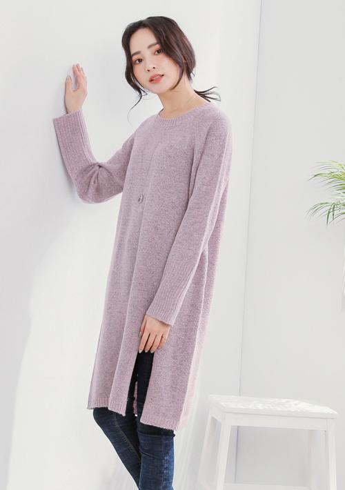 針織開衩長毛衣