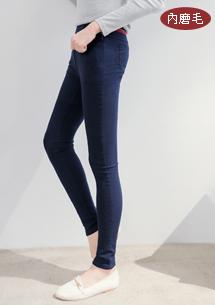 高彈暖感配色磨毛窄管褲