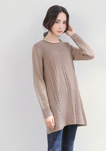 微甜純色織紋傘擺針織毛衣