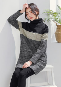 暖冬配色針織刷毛高領洋裝