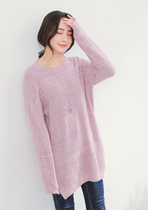 慵懶美感開衩針織長版毛衣