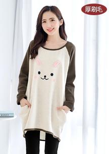 可愛萌兔厚棉刷毛配色上衣