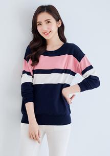 清新條紋配色針織衫-深藍
