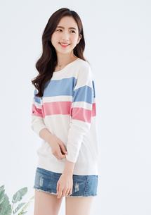 清新條紋配色針織衫-白
