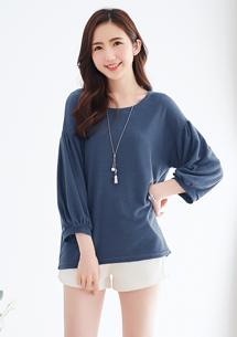 微甜質感小泡袖針織上衣-藍