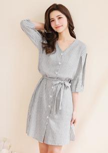 清新直條紋綁帶V領洋裝