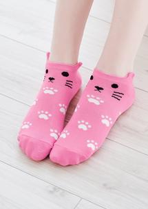 貓咪足跡柔感短襪