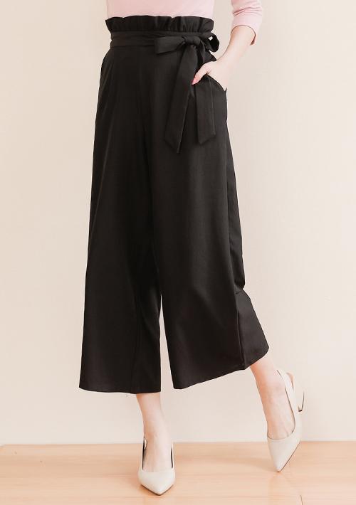 時尚荷葉綁帶寬褲