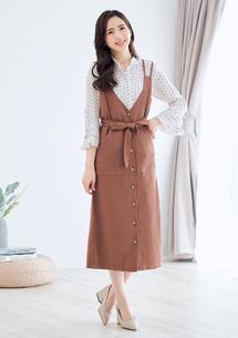 韓妞時尚排釦洋裝-附綁帶