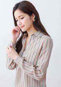 文青雙配色直條紋襯衫