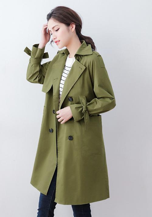 排釦風衣外套-附綁帶