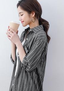 日系簡約直條紋棉質長襯衫