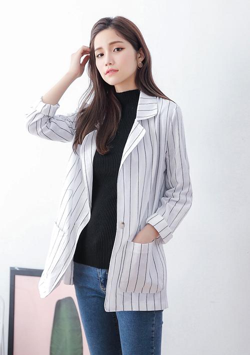 韓版率性直條紋外套