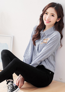 韓款兔子刺繡條紋襯衫