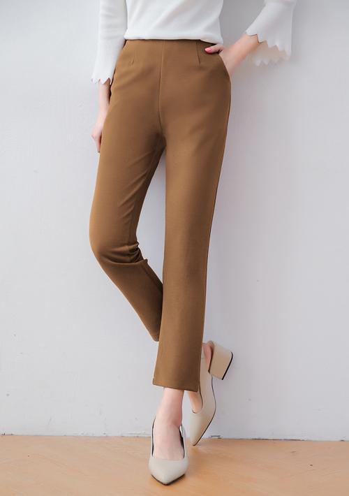 俐落壓摺側拉鍊修身長褲