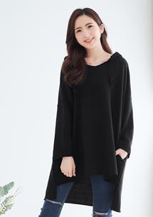 韓式休閒連帽長上衣