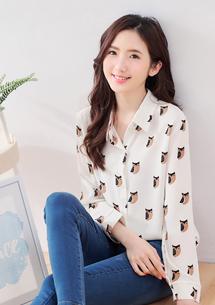 可愛貓頭鷹雪紡襯衫