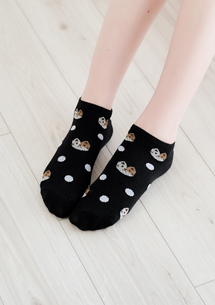 貓咪派對點點柔彈短襪