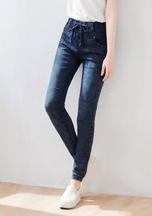 刷色縮口牛仔褲-藍