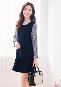 韓系優雅雪紡魚尾洋裝