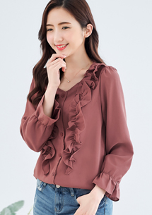 韓系優雅荷葉襯衫