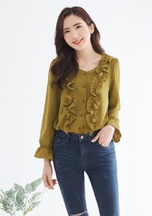 韓系優雅荷葉質感襯衫