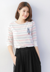 休閒甜感兔子彩色條紋上衣