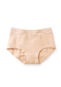 純棉蕾絲高腰內褲