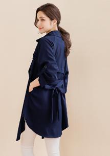 韓版俐落開襟外套-附綁帶