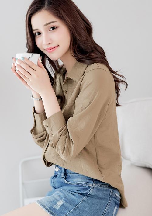 棉麻質感長袖襯衫