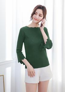 花邊造型袖針織上衣-綠