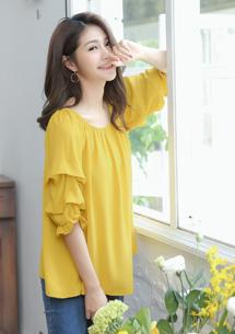 唯美造型袖棉麻上衣-芥黃