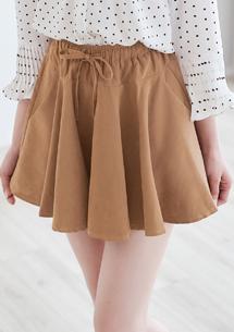 蜜桃絨抽繩短褲裙