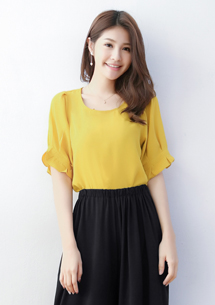 唯美造型袖雪紡上衣-芥黃