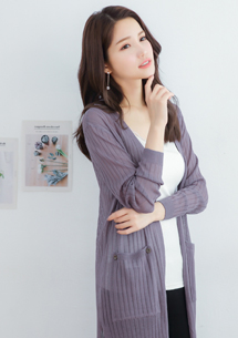 針織側開衩長版外套-紫