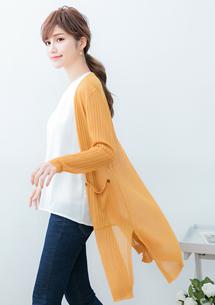 針織側開衩長版外套-黃