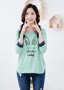 兔子格紋袖上衣