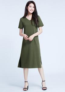 四面彈長版洋裝