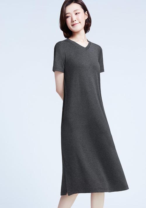 特級四面彈性長版洋裝