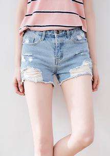美型刷破牛仔短褲